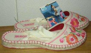 ROXY SIESTA Canvas Espadrille Flat Shoes Womens 7 NWT