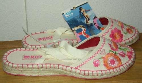 ROXY SIESTA Canvas Espadrille Flat Shoes Womens 8 NEW