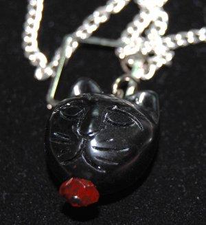Black Cat Eye Glass Necklace