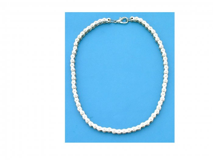 """Ladies Chrome Motorcycle Bike Chain Necklace - 18"""""""