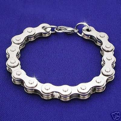 "Chrome Motorcycle Bike Chain Bracelet - 9"""