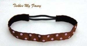 Exercise Non Slip Fashion Headband Brown Pink Polka Dots