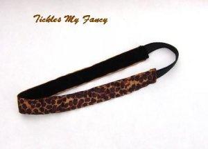 Exercise Non Slip Fashion Headband Brown Leopard