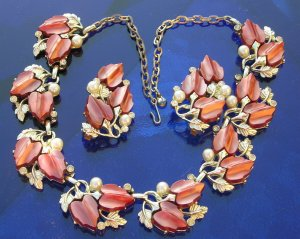 Vintage Thermoset Rhinestone Pearl Necklace and Earrings