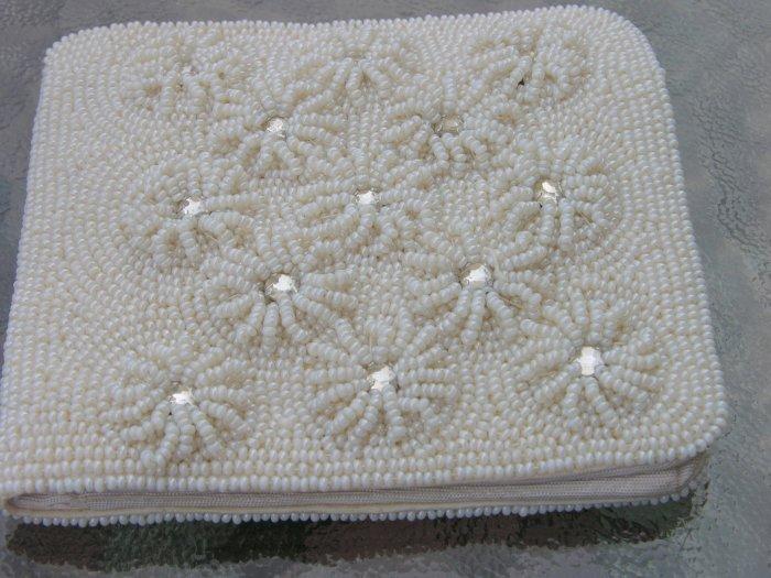 Vintage Seed Pearl and Mirror Vintage Dressy Wallet Beaded
