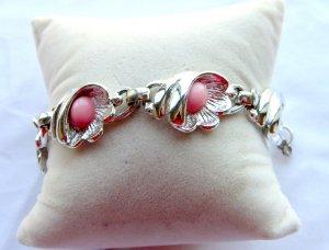 Rhodium Backed Shell Bracelet Pink Cabochons