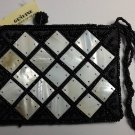 Genuine MOP Black Beaded Coin Purse - HANDBAG ACCESSORY - Tropical / Beach Sea Shell - FREE ship!