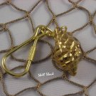 Brass Conch Seashell Keychain - Tropical / Beach Sea Shell - FREE ship!
