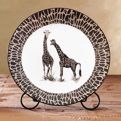 African Decor, Crafted in porcelain, safari-inspired patterning two elegant giraffes.