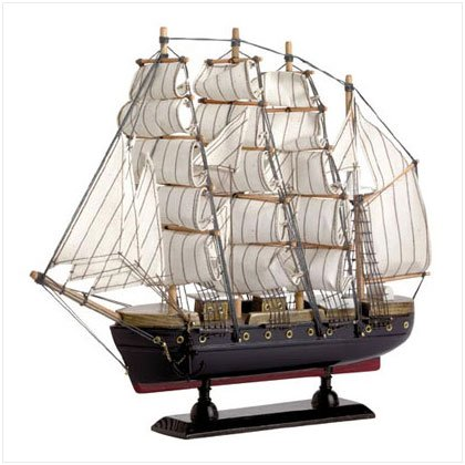 WOOD SAIL BOAT WITH COTTON SAILS, OFFICE DECOR