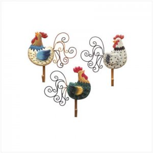 Country Farm Decor, Kitchen Decor, 6 PC ROOSTER WALL HOOK PLAQUES