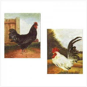 Country Canvas on wood wrap Rooster Print Set