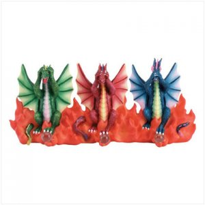 Dragon trio key wall plaque holder