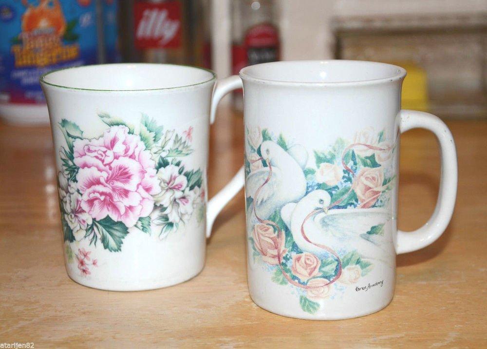 2 vintage bird floral print rose dove Mug cup Set England bone china otagiri art