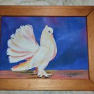 made in USA 90's handmade medium size white bird painting wood frame framed sky