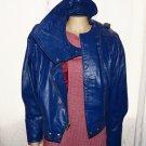 High Collar vintage leather jacket blue made in argentina 9 10 medium buckle M