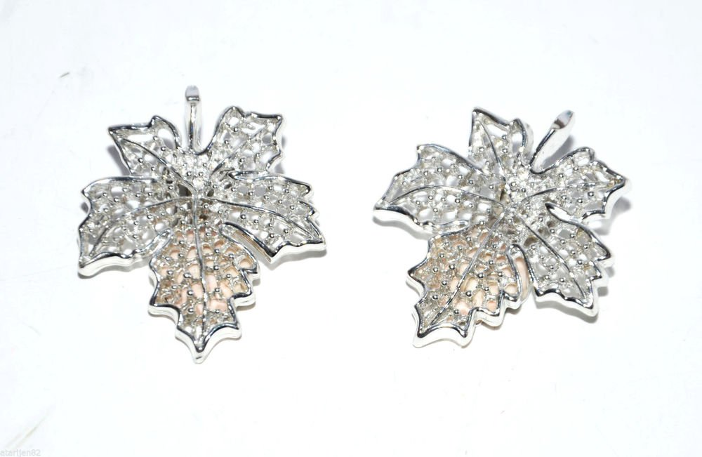 Euc vintage clip earrings silver metal leaf leaves Sarah Coventry Co. filigree