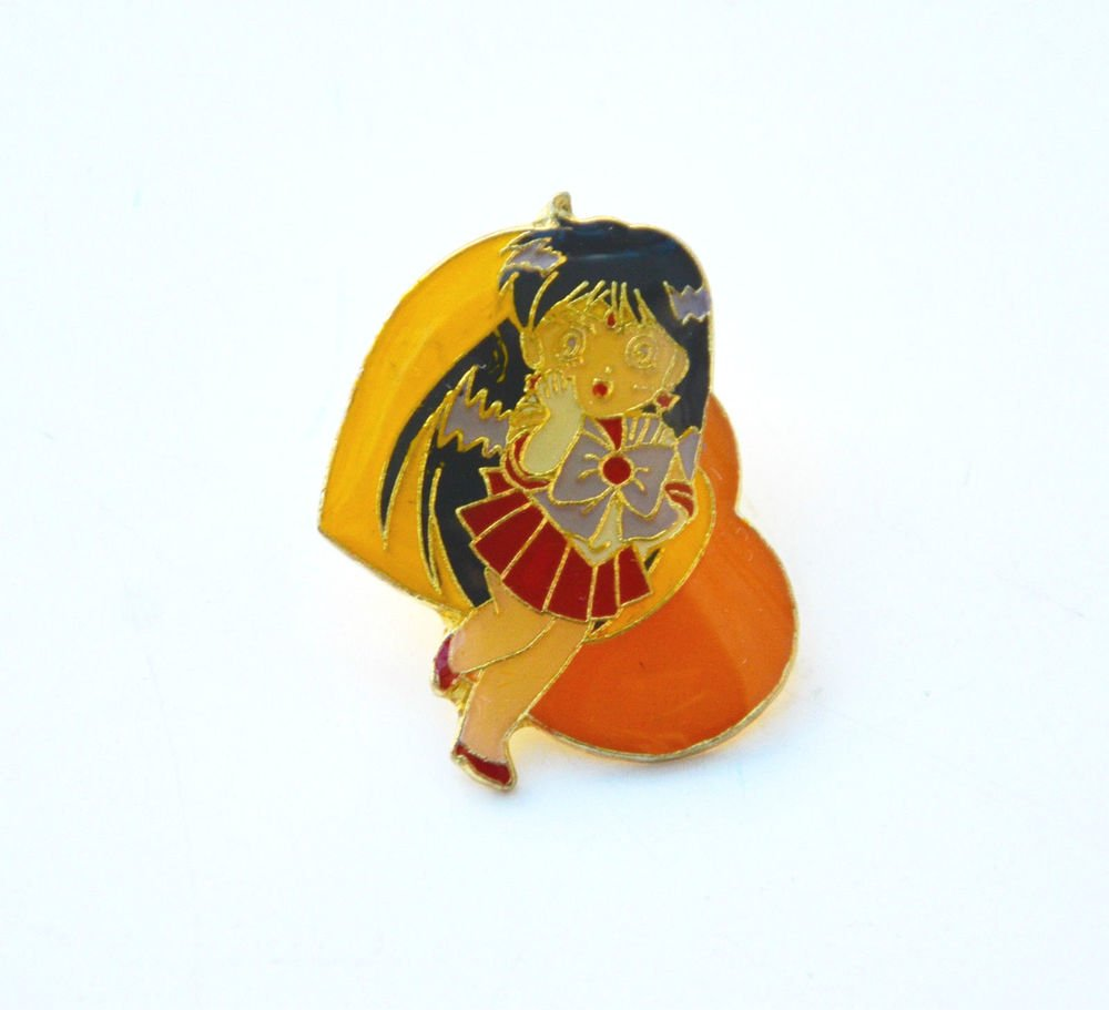 Sailor Moon Sailor Mars TKTAT vintage metal enamel heart shaped pin