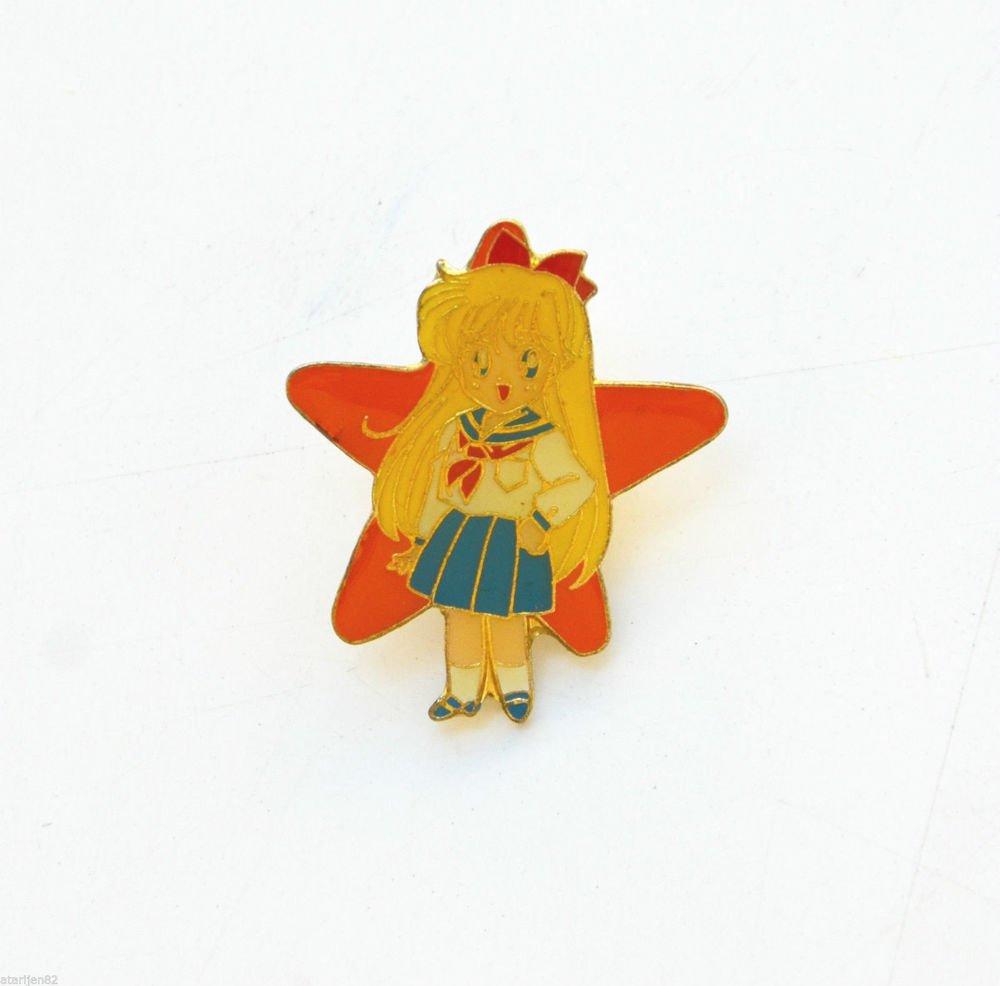 Sailor Moon vintage metal enamel star pin Sailor Venus Mina T.K.TA.T