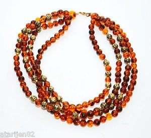 Vintage Multi 4 strand Choker Collar necklace amber brown beaded gold metal bead