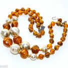 Euc Vintage Double 2 strand Choker necklace amber brown lucite beaded gold bead