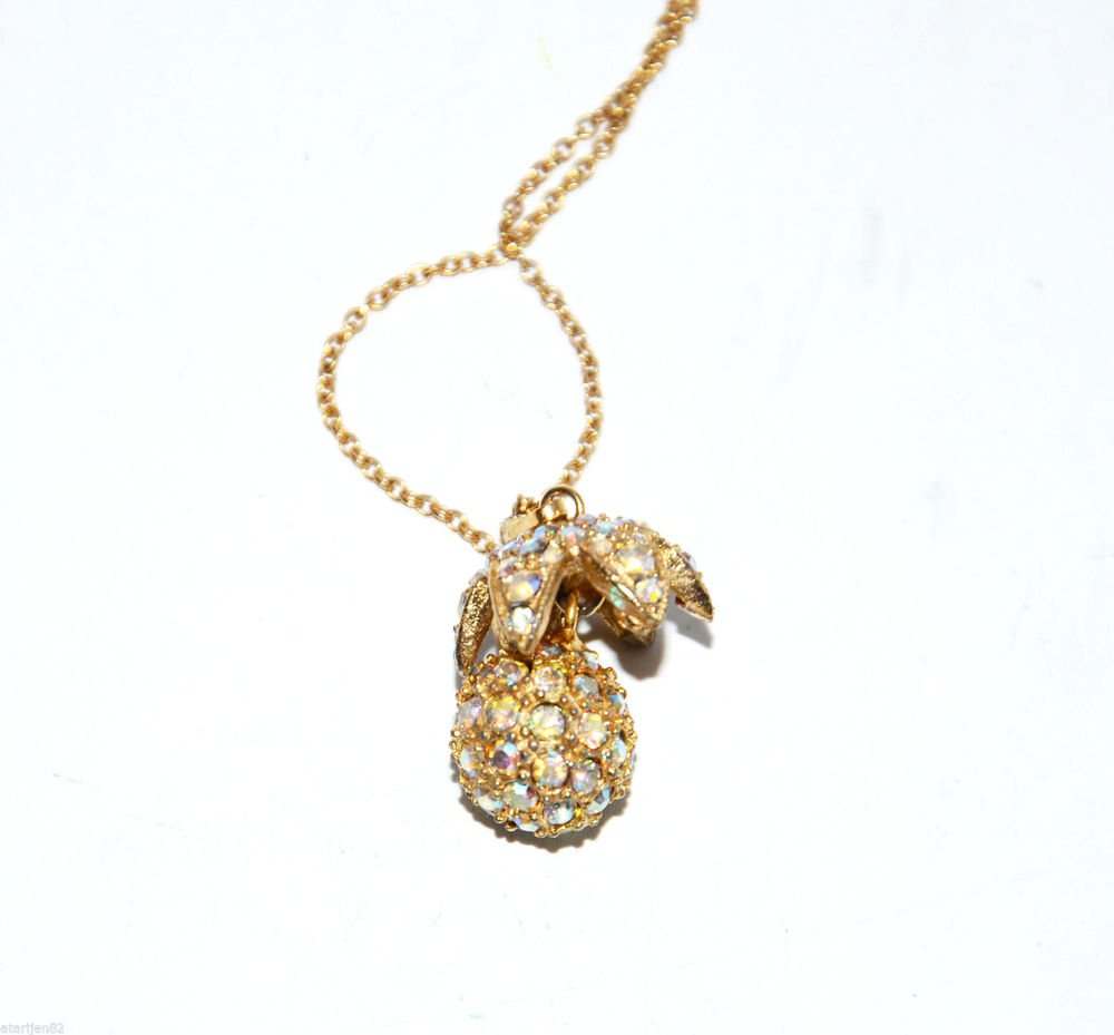 vintage high end gold metal chain Pendant necklace fruit AB rhinestone pineapple