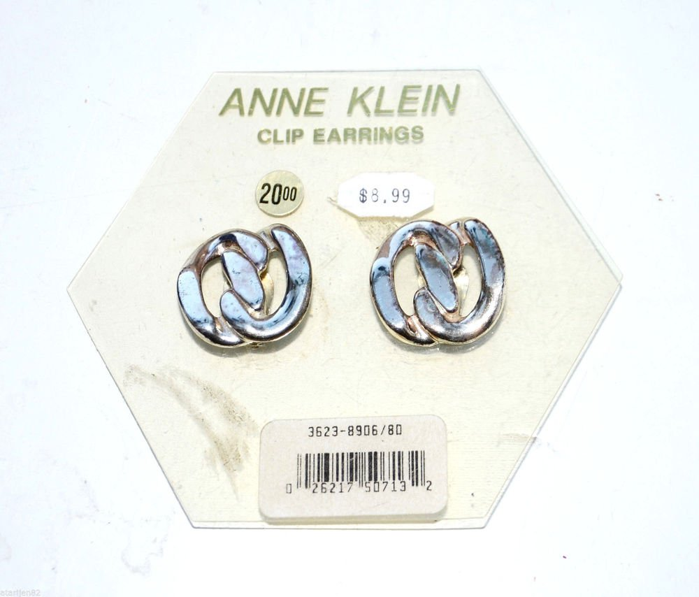 New vintage Anne Klein Silver Tone Metal Round Abstract Clip earrings