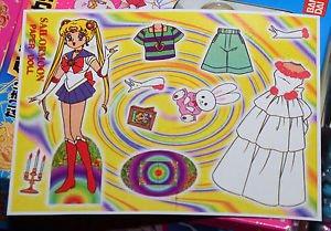 Sailor Moon paper doll sheet vintage white princess dress Usagi