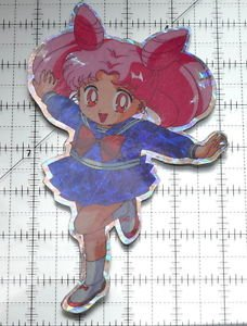 Sailor Moon large prism sticker prismatic Rini Chibiusa Chibimoon decal