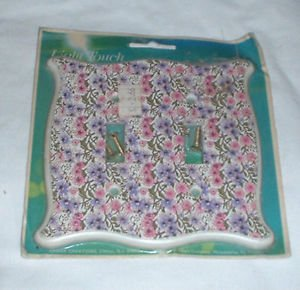 vintage Double Toggle Light Switch Cover Plate floral pink purple flower pattern