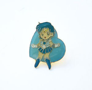 Sailor Mercury enamel heart shaped pin vintage Japanese Sailor Moon Bandai Japan