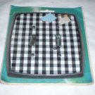 vtg Double Toggle Light Switch Cover Plate checkered black white Edmar Creations