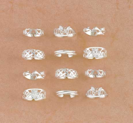 SILVER-PLATED TOE RINGS