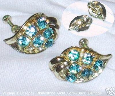 Vintage 1940s Blue Topaz RHINESTONE Gold Leaf Earrings
