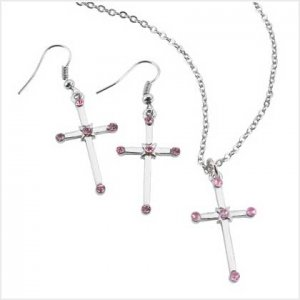 Cross Earing and Necklace Set