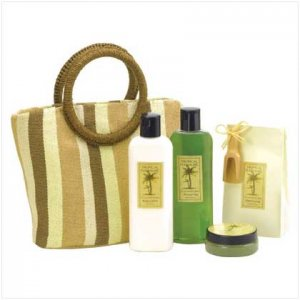 Coconut Lime Bath Set with Tote Bag