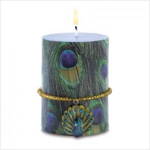 Peacock Candle with Charm