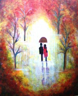 AUTUMN ROMANCE-HUGE 30 X 24  Abstract on canvas romantic