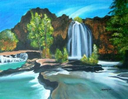 THE WATERFALL- Original landscape painting on canvas board