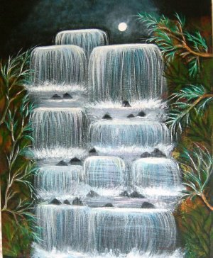 MOONLIT FALLS-Original acrylic WATERFALL Paintng on canvas board.