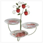 3 APPLE PLATES W/DISPLAY STAND