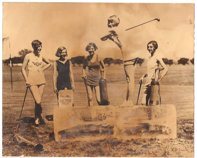 Real Photo of Miss Dorothy Kelly teeing off on a cake of ice between 1920 and 1932