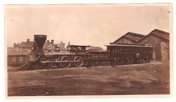 Real Photo of Engine W. H. Whiton & President's car Alexandria, 1865
