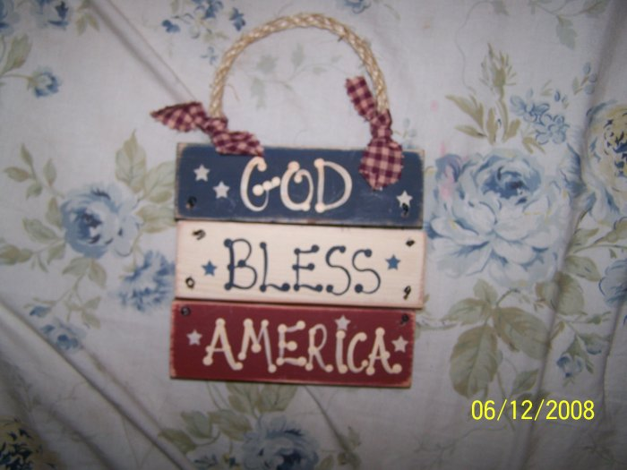 God Bless America Hand Crafted Sign