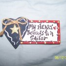 """MY HEART BELONGS TO A SAILOR"" MAGNET"