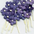 20 Purple Tiny Flowers w/ Pollen Stem Embellishment Card Topper
