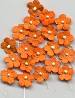 20 Orange Tiny Flowers w/ Pollen Stem Embellishment Card Topper