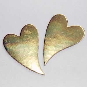 10 Gold Bendy Hearts Embellishment Card Topper Die Cuts
