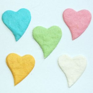 20 Pastel Bendy Hearts Mulberry Paper Embellishment Card Topper