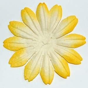 10 Lg. Yellow & White Mulberry Flower Embellishment Card Topper